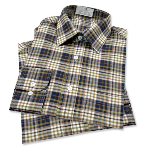 Exstore Mens Gents Formal / Casual Fit Slim To Wide Dress Long Sleeve Shirt Blue Check