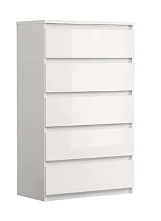 Treat Your Home Clarra 5 Drawer Chest, Wood, White Gloss