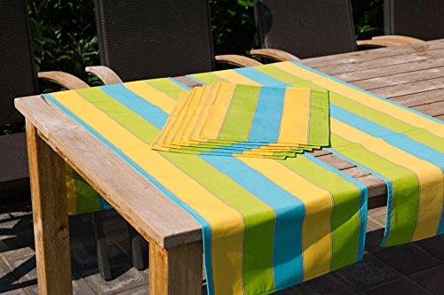 Hambiente Outdoor Tischläuferset 2 x Gartentisch Läufer und 6 x Platzset in gelb grün türkis 90 günstig