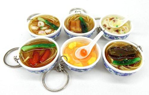 本物 ソックリ!? 中華麺 & 水餃子 & 中華デザート キーホルダー 6個セット
