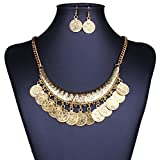Tribal Jewelry Flat Round Dangle Coin Tassel Pendant Chain Necklace For Women
