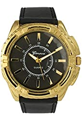 Men's Classic Leather Band Watch - Black/Gold