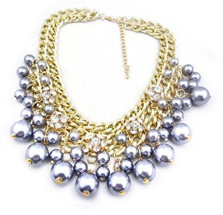 Wiipu Rhinestone Layered Cluster Ball Beads Drop Chunky Statement Bib Necklace(wp-38)