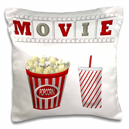 3dRose pc_222695_1 The Word Movie with Popcorn and Soda Illustration in Red White and Gray Pillow Case, 16