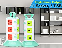 3 Layers with 11 US Outlets and 2 USB Ports Smart Power Sockets, Overload Protector, US Plug, Cable Length: 1.5M