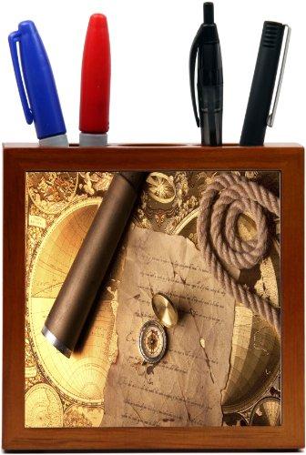 Rikki Knighttm Vintage Navigation Compass Map And Telescope Design 5 Inch Tile Wooden Tile Pen Holder