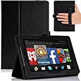 MoKo Amazon Kindle Fire HD 7 2014 Case - Slim Folding Cover Case for Amazon Kindle Fire HD 7 Inch 4th Generation Tablet, BLACK (With Smart Cover Auto Wake / Sleep)