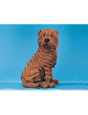 XX-Large Sitting Shar Pei Dog Realistic Lifelike Collectible Figurine