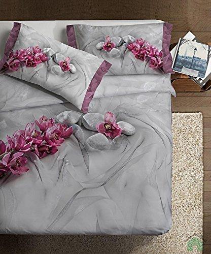 Ipersan Asian Fine-Art Parure Copripiumino Fotografico, Piazzato, Cotone, Grigio/Rosa, Matrimoniale