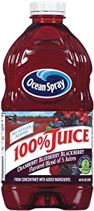Ocean Spray 100%  Juice, Cranberry Blueberry Blackberry, No Sugar Added, 64-Ounce (Pack of 8)