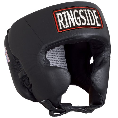 Ringside Competition Boxing Headgear with Cheeks (Black, Large)