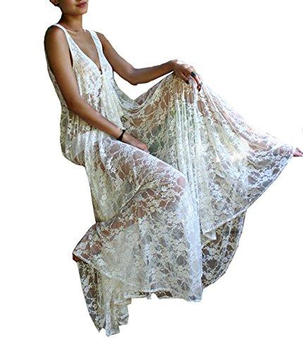 Esen-fa sexy Loose Lace Vedere attraverso spiaggia Cover Up Costume lungo maglione cardigan spiaggia vestito White B Taglia unica