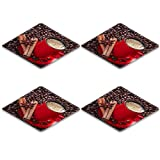 Liili Square Coasters 4 Pieces per order Coffee in a red cup with cinnamon and anise stars Image ID 23463555
