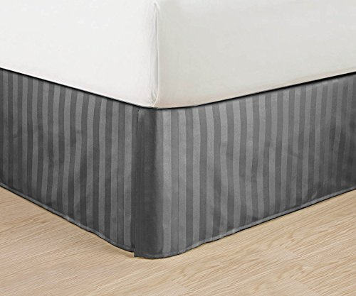 "Wrinkle Free - Egyptian Quality Stripe Bed Skirt - Pleated Tailored 14"" Drop - All Sizes And Colors , Queen , Gray"