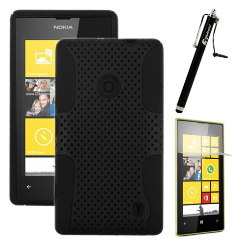 Miniturtle, Premium 2 In 1 Double Layer Perforated Hard Hybrid Phone Case Cover, Clear Screen Protector Film, And Stylus Pen For Windows 8 Smartphone Nokia Lumia 520 /At&T (Black)