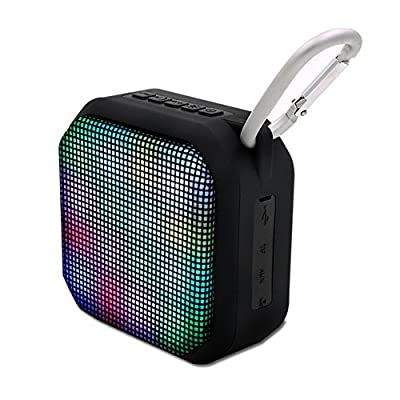 Portable Bluetooth Speaker, Wireless Speaker with Colorful LED Lights, Outdoor Waterproof Bluetooth Speaker with Build-in Microphone and Removable Metal Pothook from SUFUM