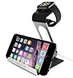 Apple Watch Stand Mercase, Apple iWatch Dual Stand/Angled/Holder/Charger Platform/Cradle[Loft]-[Versatile][Elegant]Aluminum Made Stand with TPU Dock for Smartphone[iwatch/iPad/iPhone] Silver