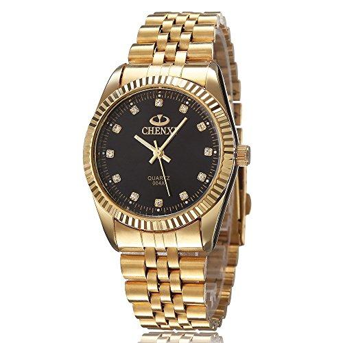 xlordx-herren-armbanduhr-business-casual-analog-quarz-gold-uhr-mit-edelstahl-armband-schwarz-zifferb