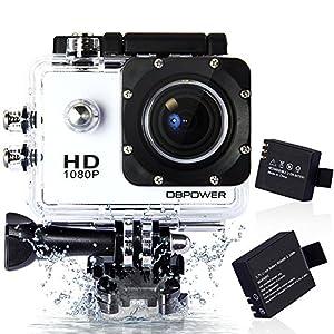DBPOWER ウェアラブルカメラ 12MP 1080P フルHD 1200万画素 170度広角レンズ 30M防水 バイク/自転車/車などに取り付け可能 19個のアクセサリー付け ホワイト