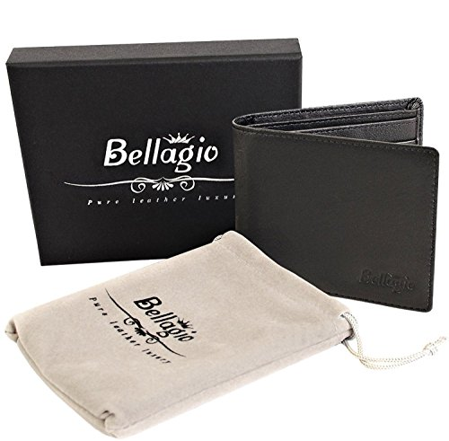 RFID Blocking Leather Wallet For Men in Gift Box - Bifold Mens Wallet - Gifts for Him, Black or Brown (Target Gift Card $10 compare prices)