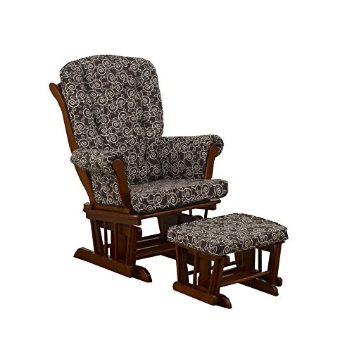 Cotton Tale Designs Glider Chocolate Vine on Espresso with Ottoman, Raspberry Dot