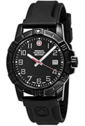 Wenger Mens Sport 3 Swiss Military Watch, PVD, Rubber, Black