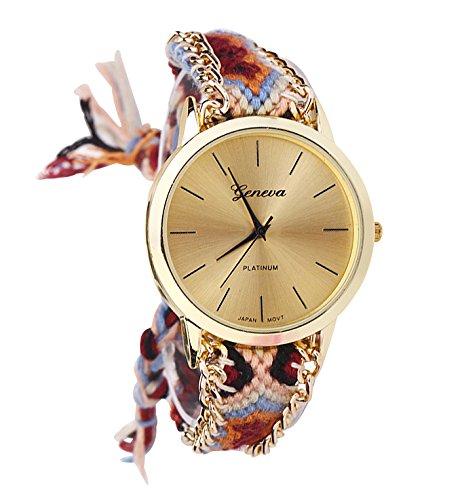 Geneva Damen Armbanduhr Platinum Ethno Blogger Hipster Vintage Stoff Analog Quarz gold / weiß / braun lw010