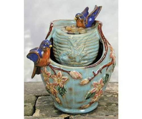 Blue Bird Porcelain Tabletop Water Fountain