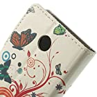 JUJEO Leather Flip Case with Card Slots and Stand Colorful Butterflies and Circles for Nokia X A110 Dual SIM/X Plus Dual SIM - Non-Retail Packaging - Multi Color
