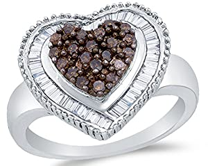 Size 7 - 925 Sterling Silver Chocolate Brown & White Round & Baguette Diamond Engagement Ring - Channel Set Heart Center Setting Shape (.78 cttw.)