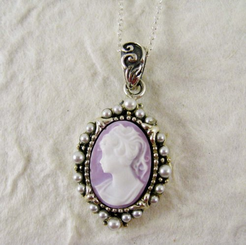 Pearl Radiance and Lavender Cameo Necklace
