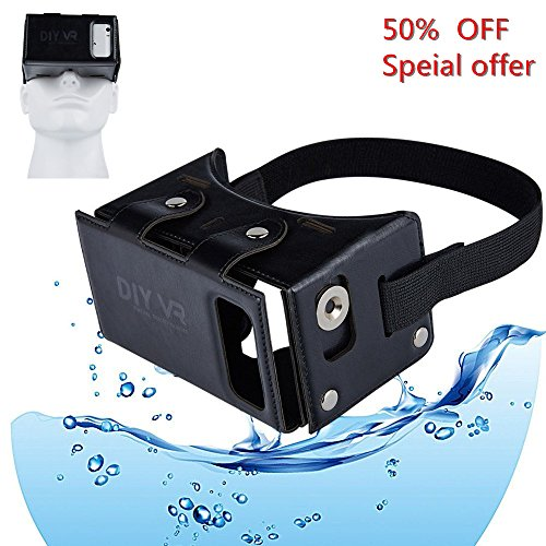 Coolzu(TM) DIY VR 3D New Google Cardboard Kit Virtual Reality Headset Glasses -Easy Setup Mini VR for Smartphone IOS and Android 4.0-5.5 Inch Youtube & 3D Game ( Black)