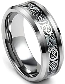 buy Jstyle Jewelry Tungsten Celtic Rings For Men Wedding Engagement Band Dragon 8Mm Size 8
