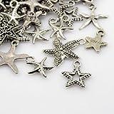 25 pc Tibetan Style Pendants, Star, Antique Silver