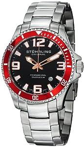 Stuhrling Original Men's 395.33TT11 Aquadiver Regatta Champion Professional Diver Swiss Quartz Date Red Bezel Watch