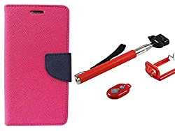 Novo Style Book Style Folio Wallet Case Micromax Canvas Selfie Lens Q345 Pink + Selfie Stick with Adjustable Phone Holder and Bluetooth Wireless Remote Shutter