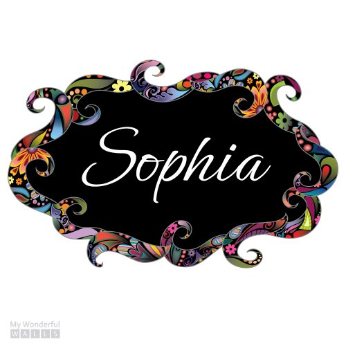 "Girls Name Sign Decal Sticker - Multicolor Floral Swirl (Large: 24.2""W X 15.3""H) front-1027304"