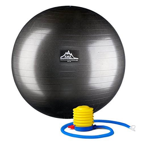 Black Mountain Products Professional Grade Stability Ball, Black, 55cm