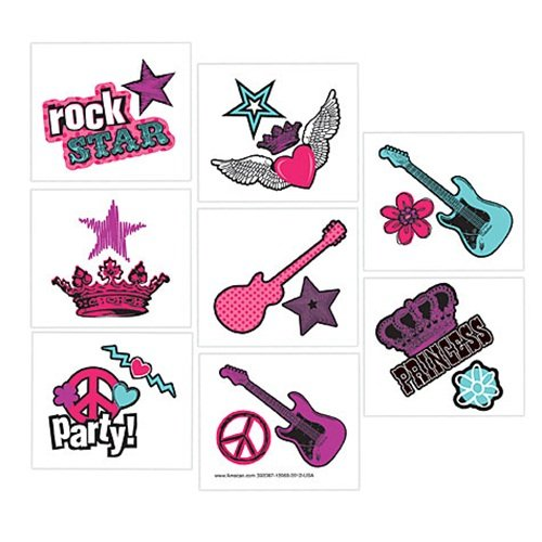 "Amscan Trendy Rocker Princess Temporary Tattoo (16 Piece), Multi, 2 x 2"" - 1"