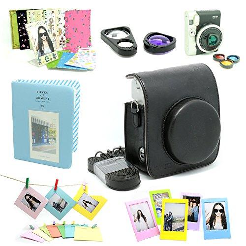 Fujifilm Instax Mini 90 Instant Camera Accessory Bundles Set( Included: Black Fujifilm Instax Mini 90 Case Bag/ Sweet Time Instax Mini Book Album/ Mini 90 Self-Portrait Mirror Set/ Colorful Close-Up L