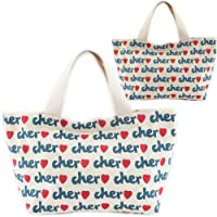 Cher シェル トートバッグ サブバッグ 総ロゴプリント キャンバスバッグ ランチバッグ Sサイズ 2カラー 並行輸入品 AMI317