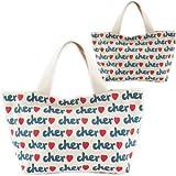 Cher シェル トートバッグ サブバッグ 総ロゴプリント キャンバスバッグ ランチバッグ Sサイズ ベージュ 並行輸入品 AMI317-WHITE