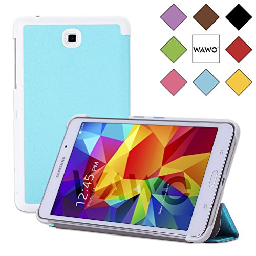 Wawo Creative Tri-Fold Cover Case For Samsung Galaxy Tab 4 7.0 Inch Tablet - Pale Blue front-997904