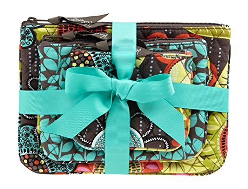 Vera Bradley Cosmetic Trio Bags in Flower Shower