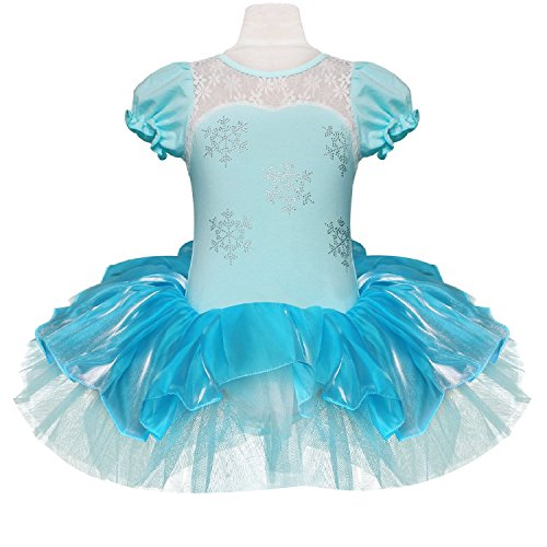 EGELEXY Big Girls Princess Snowflake Dance Wear Party Dress 5T Blue