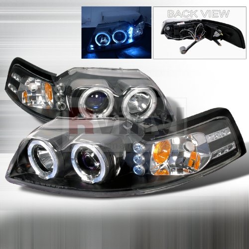 Ford Mustang Led Halo Black Projector Head Lights
