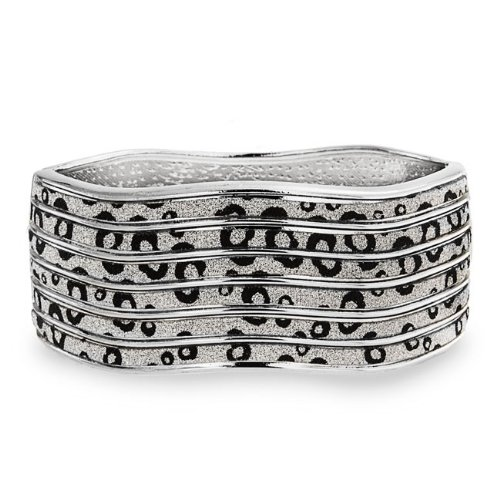 Bling Jewelry Waved Black and White Leopard Print Stardust Bangle Bracelet