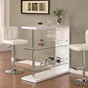Coaster bar table with two glass shelves in gloss white finish home bars Home bar furniture amazon
