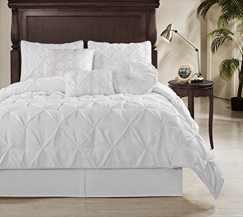 Chezmoi Collection Sydney 7 Piece Pintuck Comforter Set, Full, White (Full Bedding Set White compare prices)