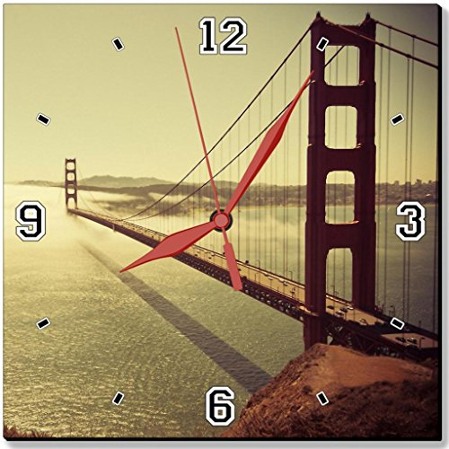Golden Gate Bridge Sunrise Nature Cityscapes San Francisco Punktail's Collections 10 Inch Quartz Plastic Wall Square Clock Customized Made to Order